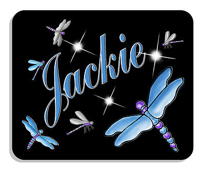 Dragonflies Silver Blue On Black Mouse Pad Personalize Any Name-text Any Color