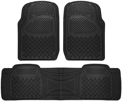 Truck Floor Mats for Toyota Tacoma 3pc Set All Weather Rubber Diamond Black