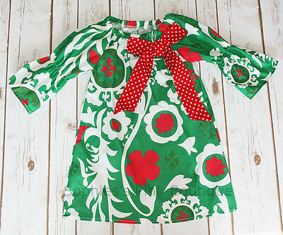 (Toddler & Girls Christmas Holiday Red Green FLORAL Boutique Ruffle Peasant Dress)