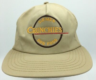 Vtg Siemer Crunchies Dog Food Embroidered Logo Made in USA Snapback Hat Cap