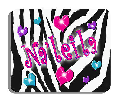 Zebra And Hearts Pastel Pink Purple Aqua Mouse Pad Personalize Gifts Girls Teens