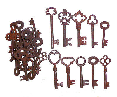 Antique Iron Skeleton Keys Lot of 25 Steampunk
