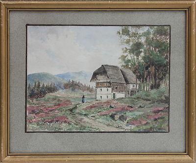 Schwarzwaldhaus Aquarell datiert 1927