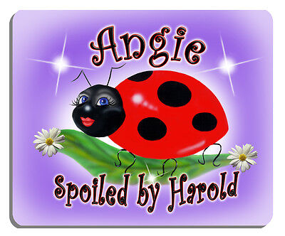 Ladybug Sweetie Mouse Pad Personalize Gifts Girls Ladies Flowers Lavender -