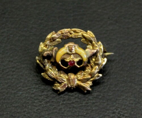 Vintage 10K Gold, Jasper & Ruby SHRINERS Pin (Pharoah) w/Clutch & Wreath