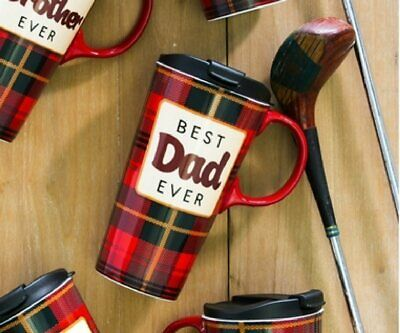 Best Dad Ever Plaid Ceramic Travel Coffee Mug 17 (Best Microwave Safe Coffee Travel Mug)