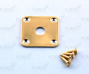 Gibson-aftermarket-square-flat-jack-plate-HJ015-Gold-with-screws