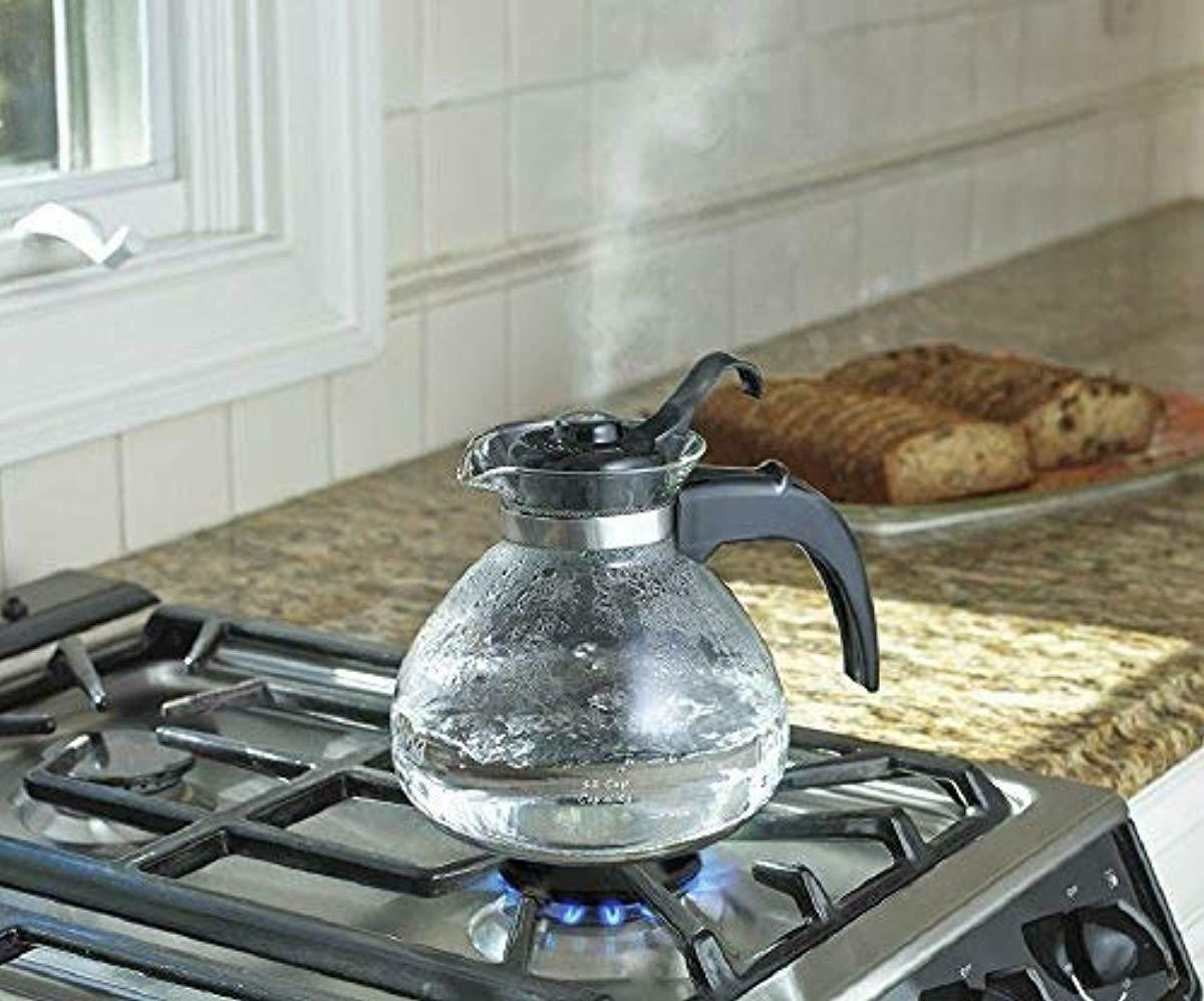 NEW MEDELCO 12-CUP GLASS STOVETOP WHISTLING TEA KETTLE LID M