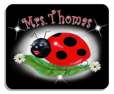 Ladybug On Black Mouse Pad personalize Gifts Ladies Girls Any Name Or Text -
