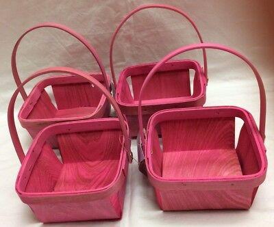Lot/4 Mini Miniature Pink Wood Baskets 5