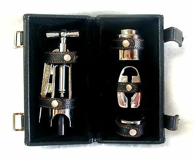 Wine Opener Kit in Leatherette Case Lever-Style Corkscrew Puller & Accessories