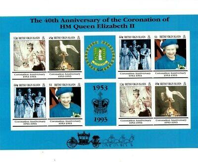 British Virgin Islands 1993 - Queen Elizabeth 40th Coronation - Sheet Of 8- MNH