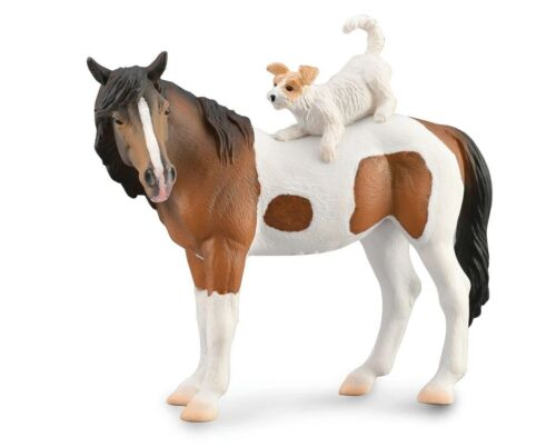 BREYER MARE AND TERRIER COLLECTA BY BREYER 88891 BAY PINTO, WHITE TERRIER TOY