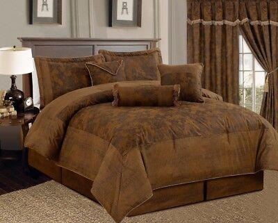 Dark Camel Brown Lavish Micro Suede Bed in a Bag CAL KING Size Comforter Set