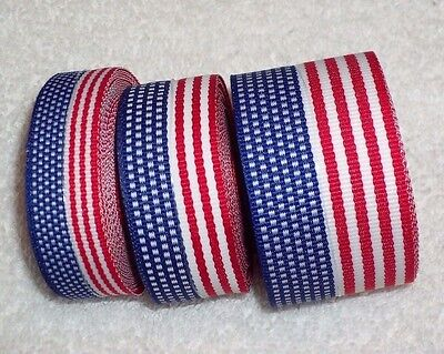 Flag Ribbon (USA Flag Ribbon, 100% Polyester Patriotic Trim, 3 sizes ~ Your Choice ~ July)