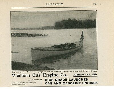 1900 Western Gas Engine Co  Boat Builder Launches Mishawaka Indiana In