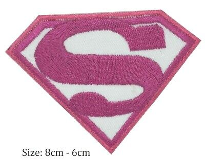 SuperGirl Superman S Pink Logo Super Hero iron-on Embroidered Patch - Pink Superman Costume