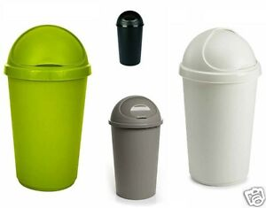 Plastic bullet bin 50 30 litre rubbish waste bins kitchen dustbin flap lid new - Poubelle cuisine 50 litres ...