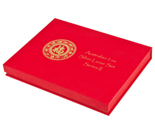 Lunar Series II (2 Oz Silver) 12 coin Red Presentation Box
