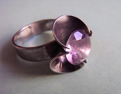 Silver modernist trefoil cup amethyst ring Kupittaan Kulta Finland 70s