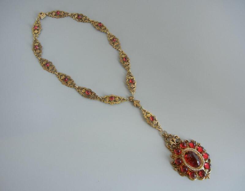 """Vintage Czech Necklace 4 5/8"""" Pendant Antique Brass Red Stones Georgian Revival"""