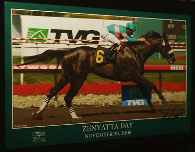 ZENYATTA HOLLYWOOD PARK 2008 Commemorative Poster RARE MIKE SMITH SIGNED HORSE