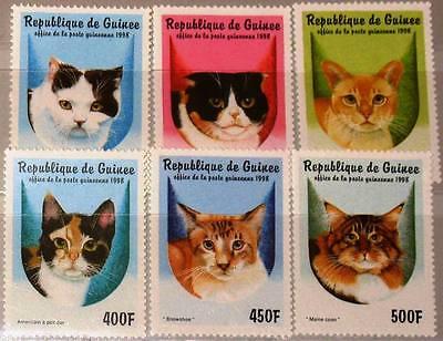 GUINEA 1998 1771 76 1431 1436 DOMESTIC ANIMALS KATZEN CATS TIERE FAUNA MNH
