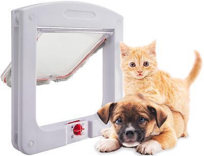 (4 Way Small Medium Large Pet Cat Dog Lockable Plastic White Frame Flap Door LE)