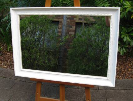 Aged Antique White Timber Framed Wall Mirror 89x61cm
