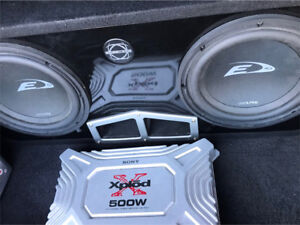 ^** ALPINE SUBS IN BASSWORX BOX WITH AMP !! HEAVY BASS!!