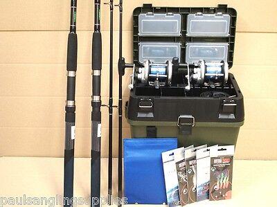 2 Rod / Reel Sea Fishing Boat Kit Seat & Tackle Box Tackle Rigs Set Ron T