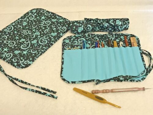 Handmade HEALING HEARTS TURQUOISE Quilted cotton fabric crochet hook holder