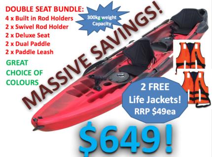 NEW 2.5 Seat Kayak Package 3.7m Lifetime Warranty Great Value!