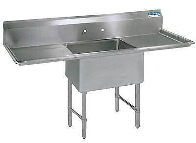 Bk Resources One 18x18x12 Compartment Sink Ss Leg 18 Drainboard Lr