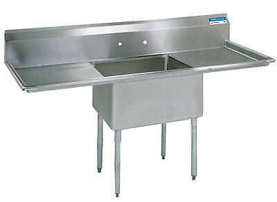 Bk Resources Stainless 1 Compartment Sink 18x18x12d W 2 Drainboards