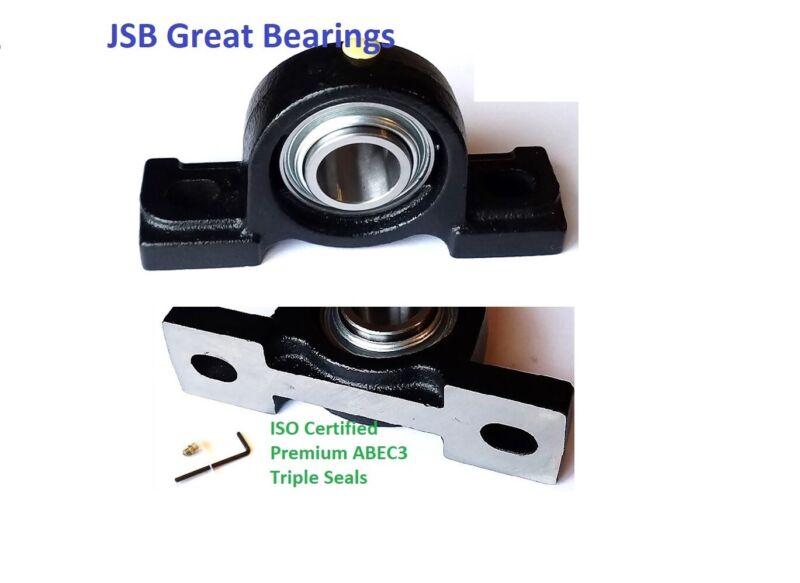 (Qty.2) Pillow block bearing premium solid base UCP204-12 triple seal ABEC3 3/4