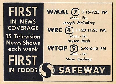 1959 Tv News Ad Joseph Mccaffrey Bryson Rash Steve Cushing Wmal Wrc Wtop