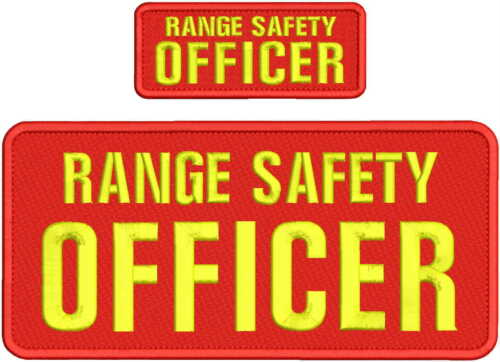 RANGE SAFETY OFFICER EMB PATCH 5X11 and 2x5 hook  on back  red/yellow