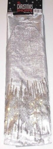 Christmas Tree Skirt 50 inches Shimmering Silver with Sequins, New w/Tag