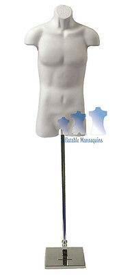Male 34 White And Tall Adjustable Mannequin Stand With 10 Square Base