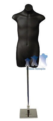 Male 34 Black And Tall Adjustable Mannequin Stand With 10 Square Base