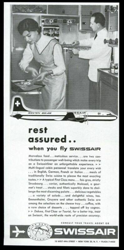 1957 Swissair stewardess steward plane galley photo vintage print ad