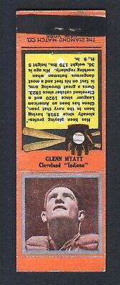 1934 Diamond Baseball Matchcover  139 Glenn Myatt Cleveland Indians Orange