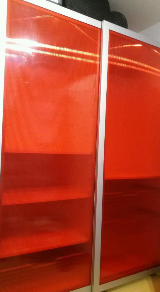 Ikea wardrobein Corfe Mullen, DorsetGumtree - Ikea large double wardrobe super cool red polycarb door with built in light which makes really funky wardrobe & doubles up as low bedroom lighting. Both sides have goid size hanging area & left side shelves & tray compartment. Right side has 1 shelf...