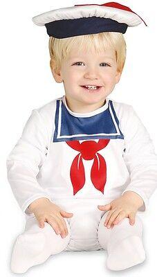 Baby Jungen weiß Matrose Landser Halloween Kostüm Kleid Outfit 6-12 12-24M