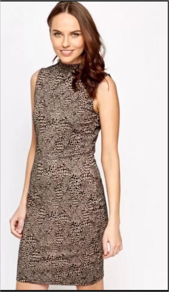 High Neck Mix Print Bodycon Dress