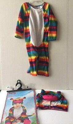 Fuzzy Rainbow Sock Monkey Infant Toddler Costume Large 12-24 month Halloween - Sock Monkey Toddler Costume
