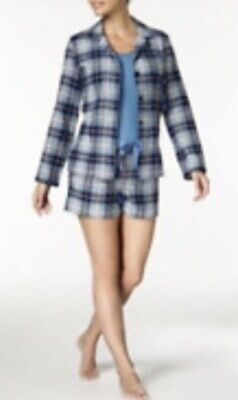 $70 nautical three piece flannel blue plaid pajamas short set size XXL #2 Bin01