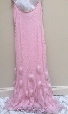 Pamela Roland Baby Pink Women'sGown Spaghetti Straps Beaded With Feathers Size 6