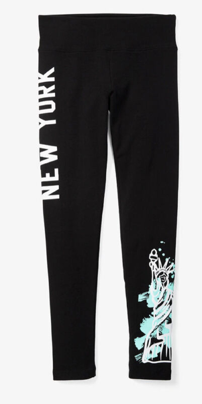 Justice Girls Size 10 Graphic Leggings Black New York New